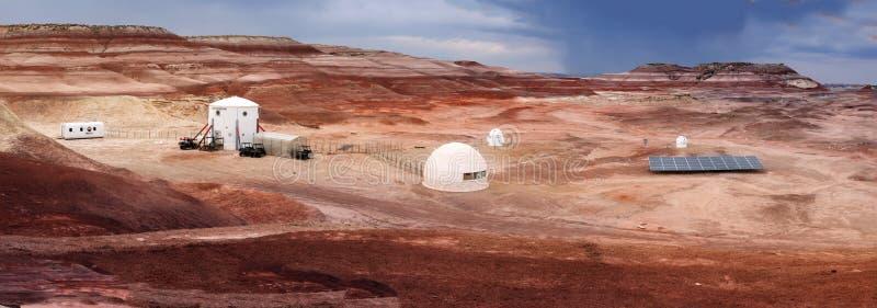 HANKSVILLE, UTÁ - 15 DE AGOSTO DE 2018: Panorama do deserto de Marte fotografia de stock
