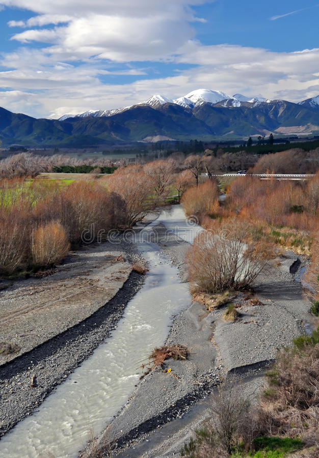Hanmer River & Willows, New Zealand royalty free stock photography