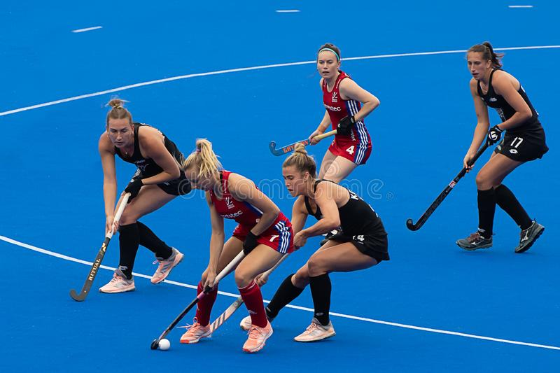 Great Britain v New Zealand - Women`s FIH Field Hockey Pro League. Hannah Martin with the ball at the women`s FIH Pro Hockey League match between GB and New royalty free stock images