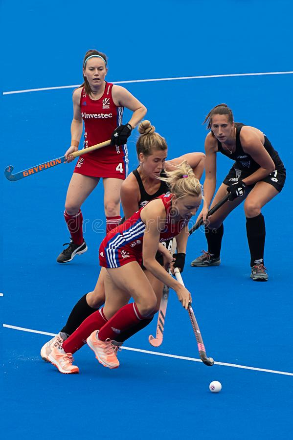 Great Britain v New Zealand - Women`s FIH Field Hockey Pro League. Hannah Martin with the ball at the women`s FIH Pro Hockey League match between GB and New stock photos