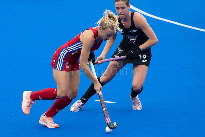 Great Britain v New Zealand - Women`s FIH Field Hockey Pro League. Hannah Martin making an attack at the women`s FIH Pro Hockey League match between GB and New stock image