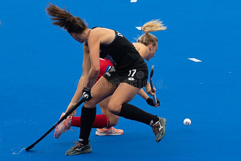 Great Britain v New Zealand - Women`s FIH Field Hockey Pro League. Hannah Martin winning the ball at the women`s FIH Pro Hockey League match between GB and New stock photo