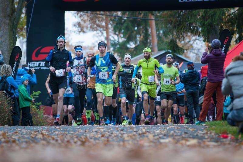 Hannah Pilsen Trail Krkavec Coureurs peu de temps après le début du marathon photos libres de droits