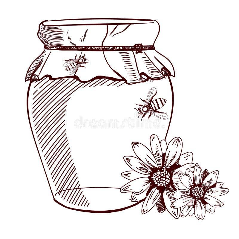 Hannd rysujący słój miód, kwiaty i pszczoły, również zwrócić corel ilustracji wektora nakreślenie ilustracji