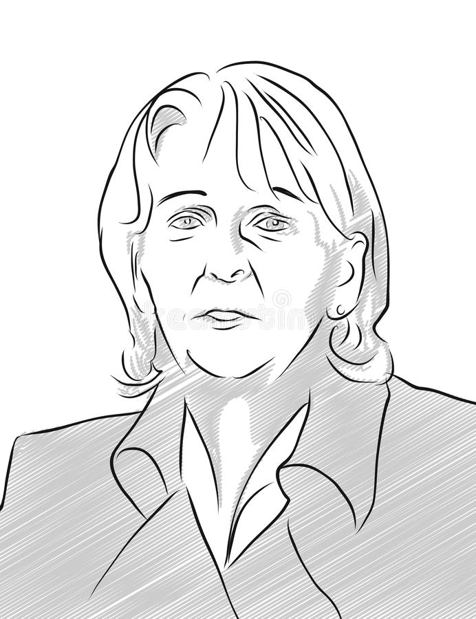 Hannelore Kraft Portrait Vector Outline illustration stock illustrationer