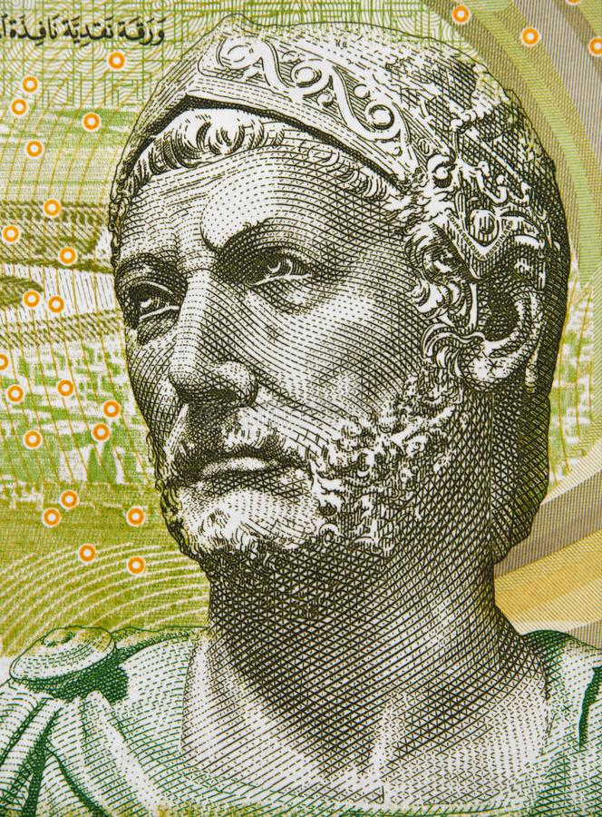 Hannibal 247 – 181 BC portrait on Tunisia 5 dinars 2013 ba. Nknote closeup, Carthaginian general, one of the greatest military strategists in history stock image