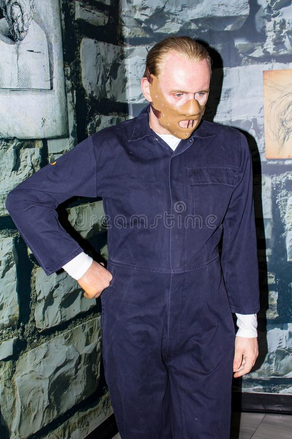 Hannibal Lecter-Wachsfigur, Amsterdam Madame-Tussauds lizenzfreie stockbilder