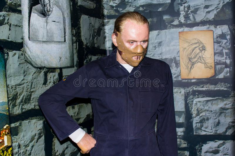 Hannibal Lecter-Wachsstatue, Amsterdam Madame-Tussauds stockfotos