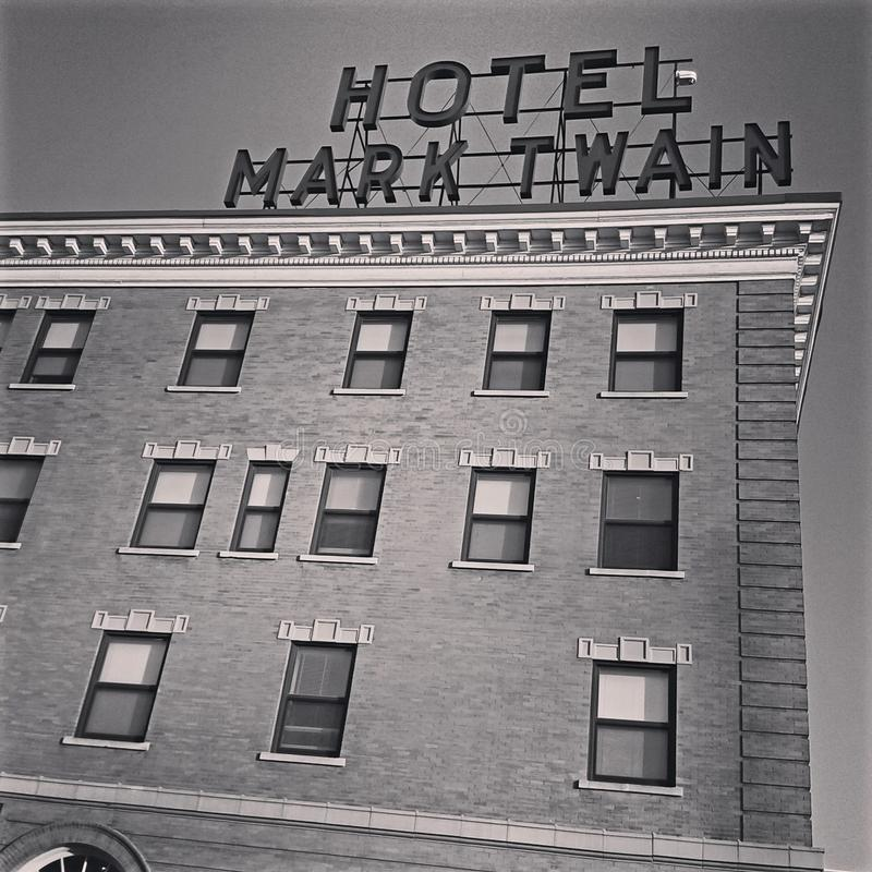 Hannibal Missouri USA grainy antiga imagem de vintagem antiga Mark Twain Hotel foto de stock royalty free