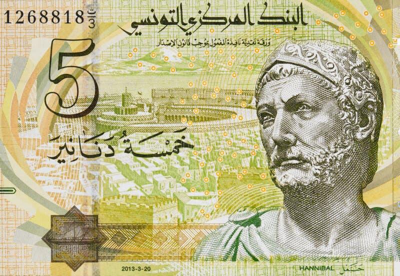 Hannibal stående på Tunisien 5 dinar 2013 sedelcloseup, T arkivbild