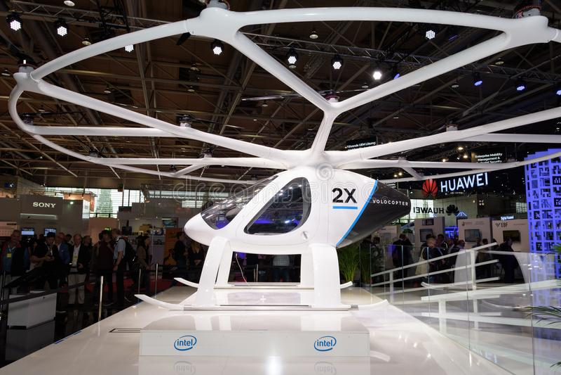 Hannover, Alemanha - 13 de junho de 2018: Volocopter fotografia de stock royalty free