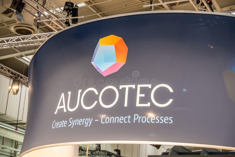 Hannover, Germania - 2 aprile 2019: AUCOTEC sta visualizzando le nuove innovazioni a Hannover Messe fotografie stock