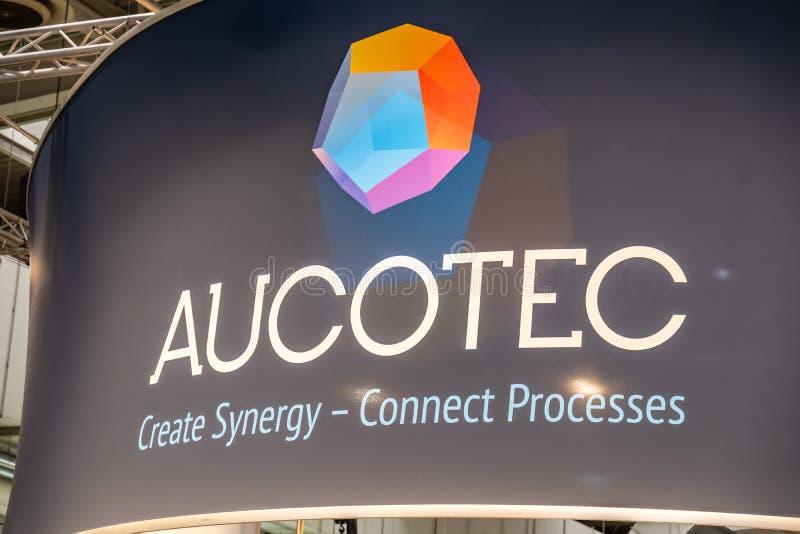 Hannover, Germania - 2 aprile 2019: AUCOTEC sta visualizzando le nuove innovazioni a Hannover Messe immagini stock