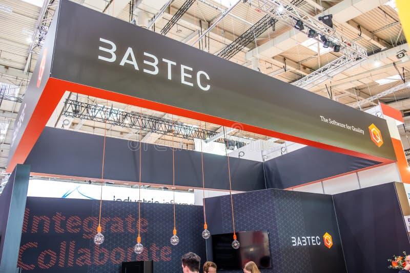 Hannover, Germania - 2 aprile 2019: Babtec sta visualizzando le nuove innovazioni a Hannover Messe immagine stock libera da diritti