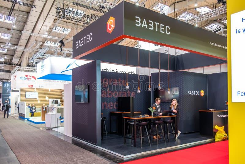 Hannover, Germania - 2 aprile 2019: Babtec sta visualizzando le nuove innovazioni a Hannover Messe fotografia stock libera da diritti