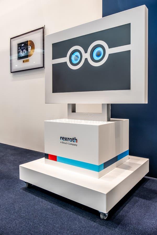 Hannover, Germania - 2 aprile 2019: Bosch Rexroth sta visualizzando l'innovazione continua a Hannover Messe immagini stock libere da diritti