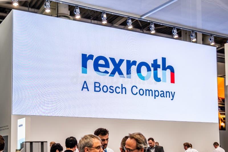 Hannover, Germania - 2 aprile 2019: Bosch Rexroth sta visualizzando l'innovazione continua a Hannover Messe fotografia stock