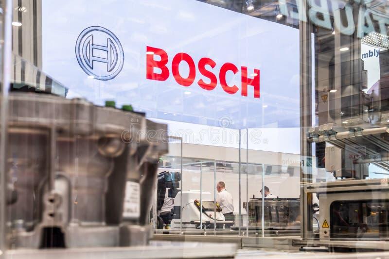 Hannover, Germania - 2 aprile 2019: Bosch Rexroth sta visualizzando l'innovazione continua a Hannover Messe fotografia stock libera da diritti