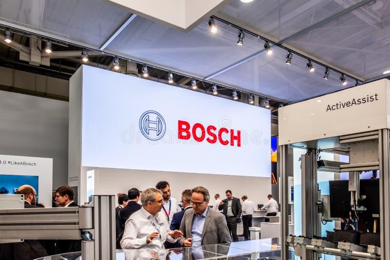 Hannover, Germania - 2 aprile 2019: Bosch Rexroth sta visualizzando l'innovazione continua a Hannover Messe immagine stock