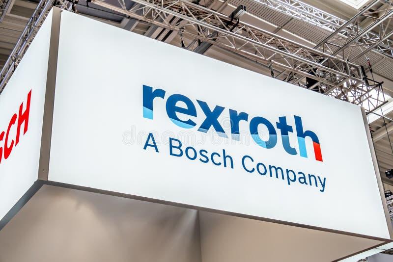 Hannover, Germania - 2 aprile 2019: Bosch Rexroth sta visualizzando l'innovazione continua a Hannover Messe immagine stock libera da diritti