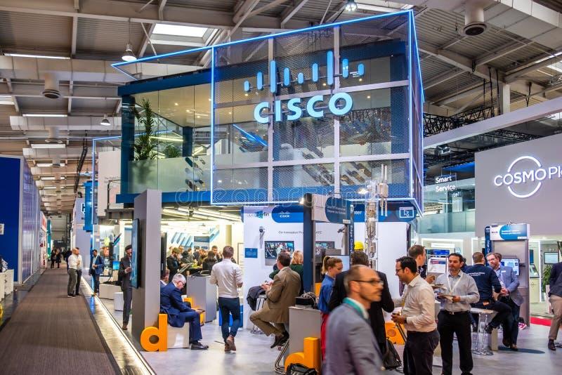 Hannover, Germania - 2 aprile 2019: Cisco sta visualizzando le nuove innovazioni a Hannover Messe fotografia stock