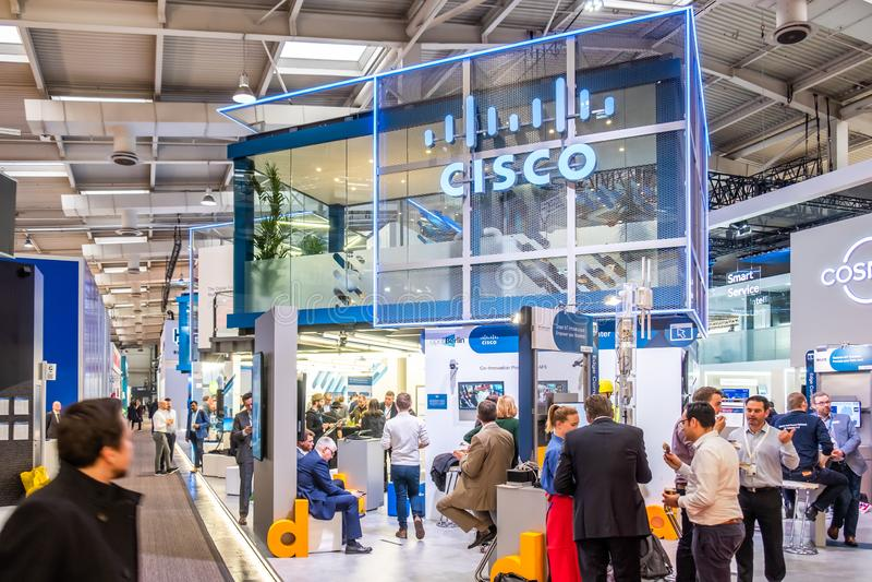 Hannover, Germania - 2 aprile 2019: Cisco sta visualizzando le nuove innovazioni a Hannover Messe immagini stock