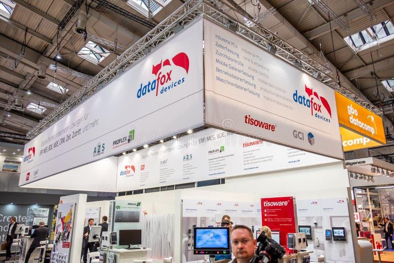 Hannover, Germania - 2 aprile 2019: DataFox sta visualizzando le nuove innovazioni a Hannover Messe immagini stock
