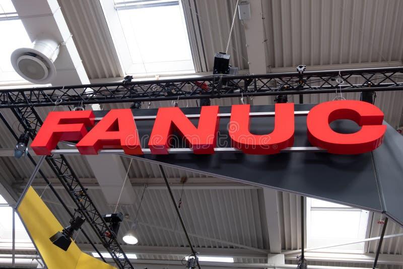 Hannover, Germania - 2 aprile 2019: FANUC sta presentando la pi? nuova generazione di robot alla FIERA di HANNOVER immagini stock