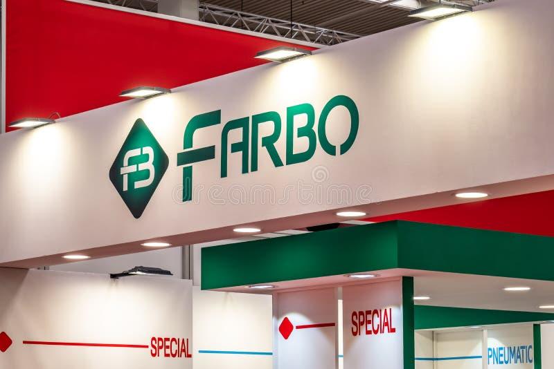 Hannover, Germania - 2 aprile 2019: Farbo sta visualizzando le nuove innovazioni a Hannover Messe fotografia stock