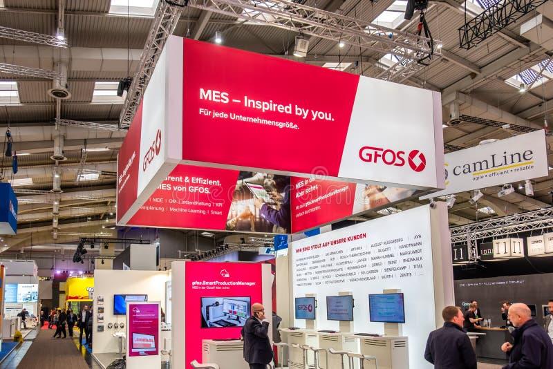 Hannover, Germania - 2 aprile 2019: GFOS sta visualizzando le nuove innovazioni a Hannover Messe fotografia stock