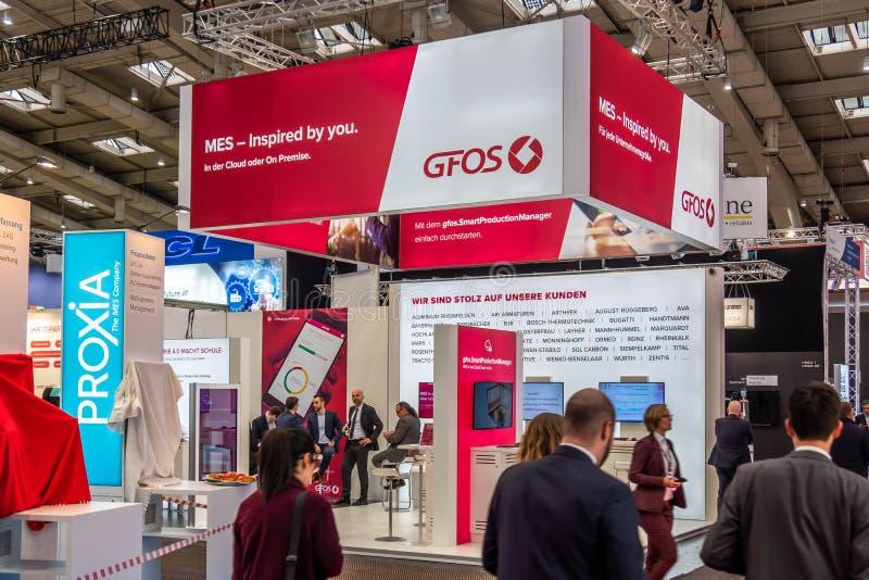 Hannover, Germania - 2 aprile 2019: GFOS sta visualizzando le nuove innovazioni a Hannover Messe immagine stock libera da diritti