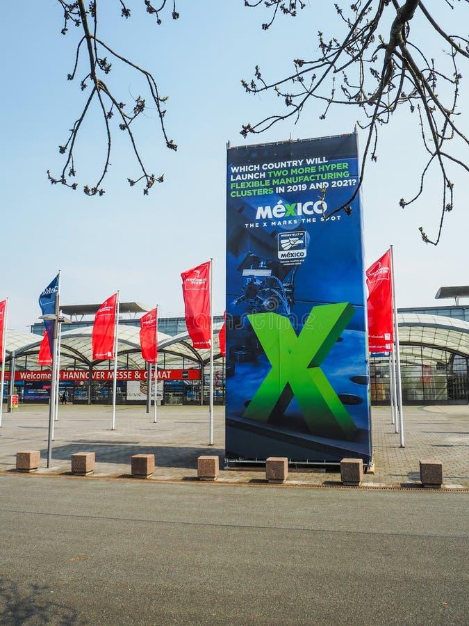 Hannover, Germania - aprile 2018: Grande pubblicità dal partner fotografia stock libera da diritti
