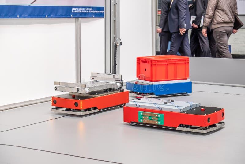 Hannover, Germania - 2 aprile 2019: Grenzbach sta presentando le loro pi? nuove innovazioni a Hannover Messe immagine stock libera da diritti