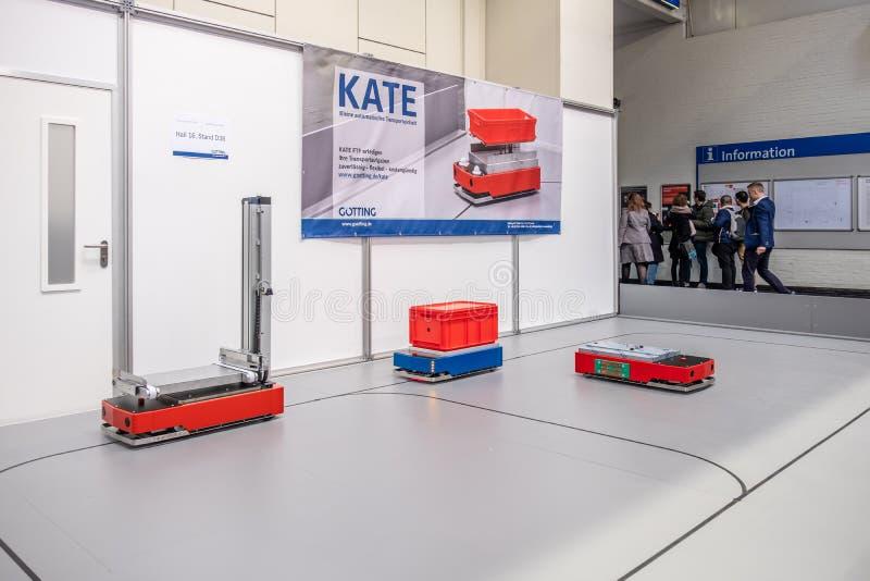 Hannover, Germania - 2 aprile 2019: Grenzbach sta presentando le loro pi? nuove innovazioni a Hannover Messe fotografia stock