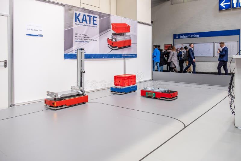 Hannover, Germania - 2 aprile 2019: Grenzbach sta presentando le loro pi? nuove innovazioni a Hannover Messe immagine stock