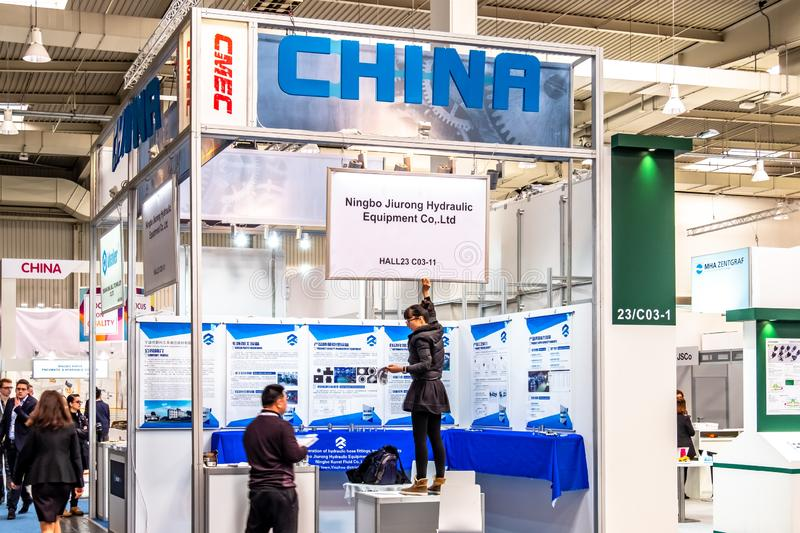 Hannover , Germany - April 02 2019 : China is the strongest land in this years world leading technology fair in Hannover.  stock image