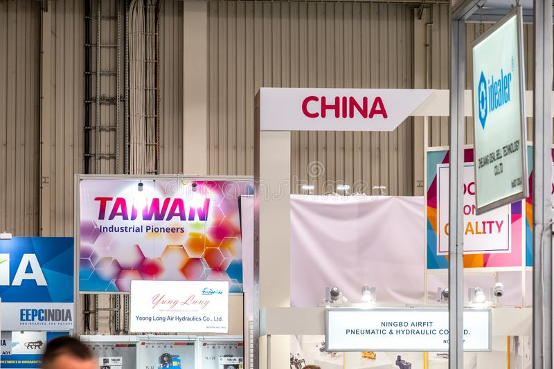 Hannover , Germany - April 02 2019 : China is the strongest land in this years world leading technology fair in Hannover.  royalty free stock photography