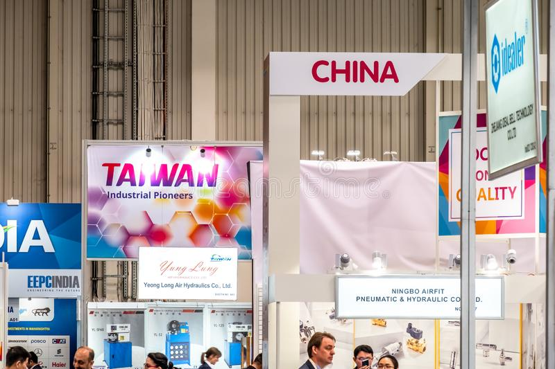 Hannover , Germany - April 02 2019 : China is the strongest land in this years world leading technology fair in Hannover.  royalty free stock photo