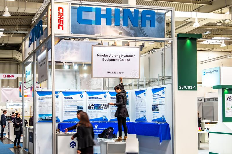 Hannover , Germany - April 02 2019 : China is the strongest land in this years world leading technology fair in Hannover.  stock images