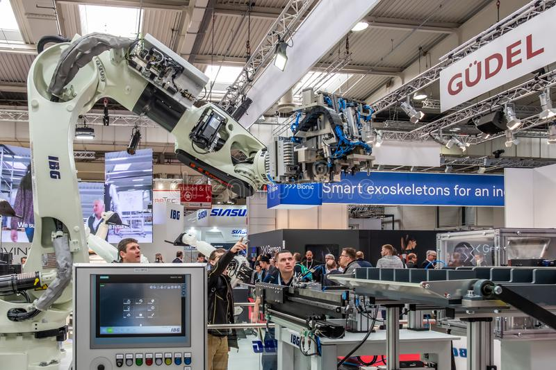 Hannover , Germany - April 02 2019 : IBG is presenting their newest innovations at the Hannover Messe.  stock image