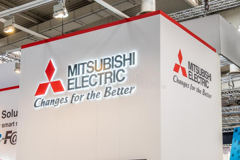 Hannover , Germany - April 02 2019 : Mitsubishi is displaying new innovations at the Hannover Messe royalty free stock photos