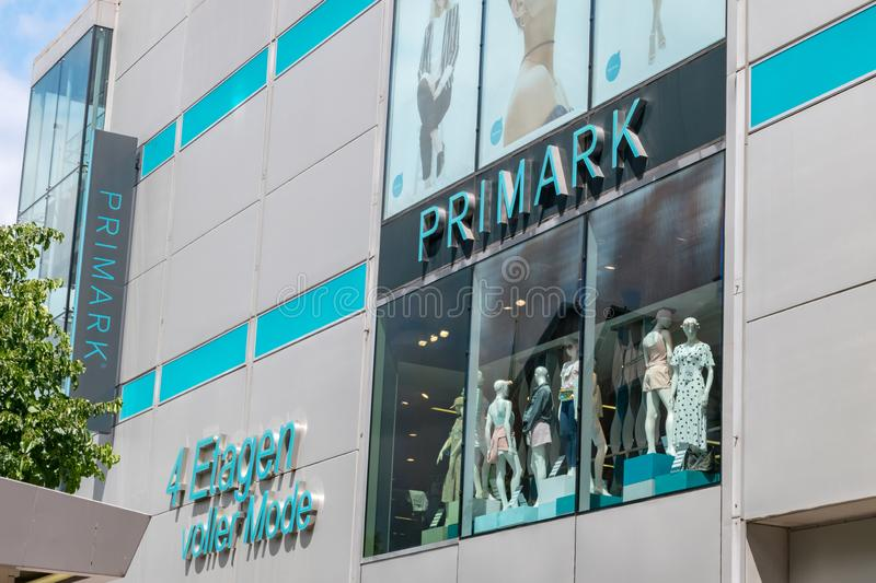 Exterior front view of PRIMARK, fashion retail brand from Ireland stock images
