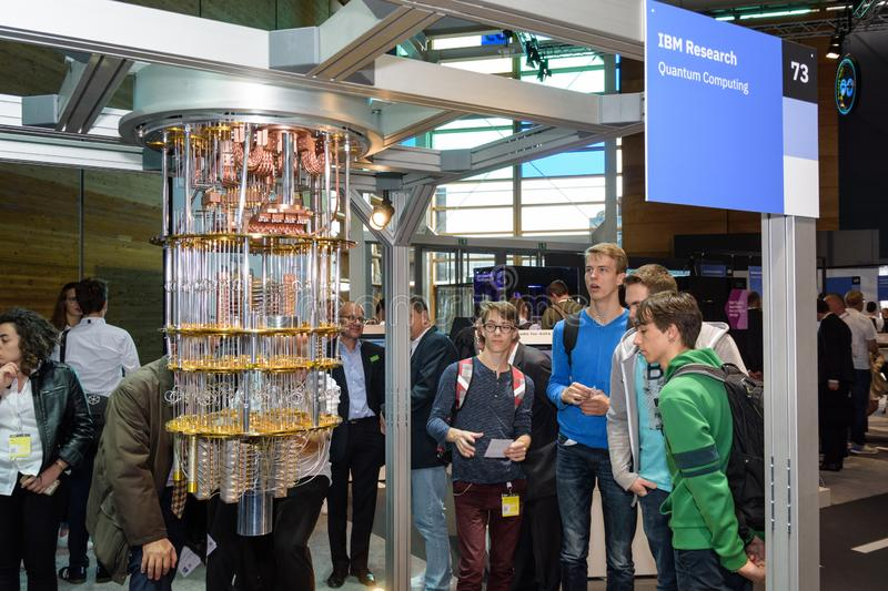 Hannover, Germany - June 13, 2018: IBM shows a model of quantum. Computer at their pavilion at CeBIT 2018. CeBIT is the world`s largest trade fair for royalty free stock photography
