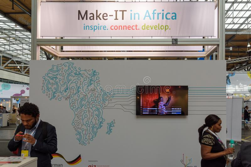 Hannover, Germany - June 13, 2018: Thematic booth from africa at. CeBIT 2018. CeBIT is the world`s largest trade fair for information technology stock photography