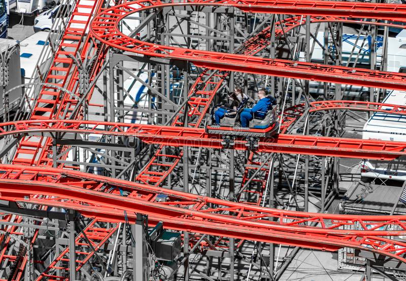 Alienated roller coaster made of steel rails as a concept for chaos royalty free stock photography