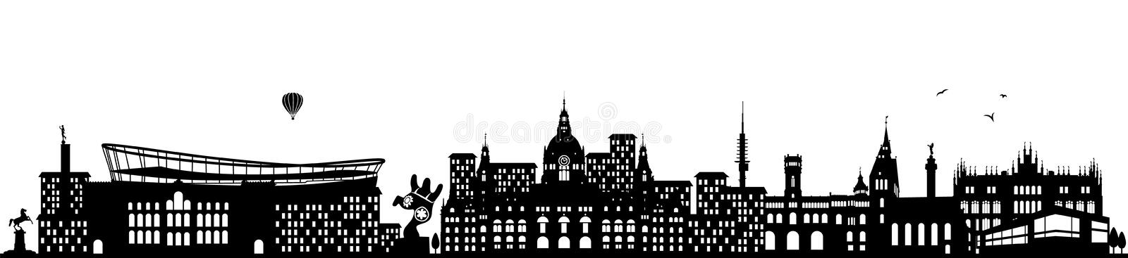 Hannover germany skyline black isolated vector. Design royalty free illustration