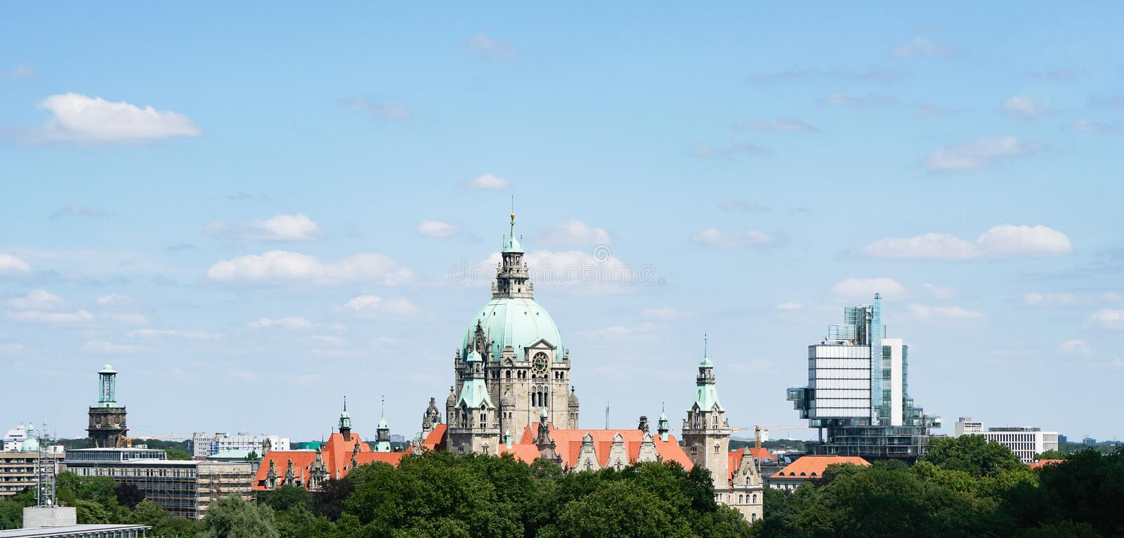 Hannover Germany skyline. Cityscape with new city hall at its center stock photography