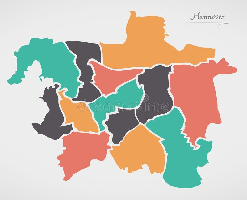 Hannover Map with boroughs and modern round shapes. Illustration stock illustration