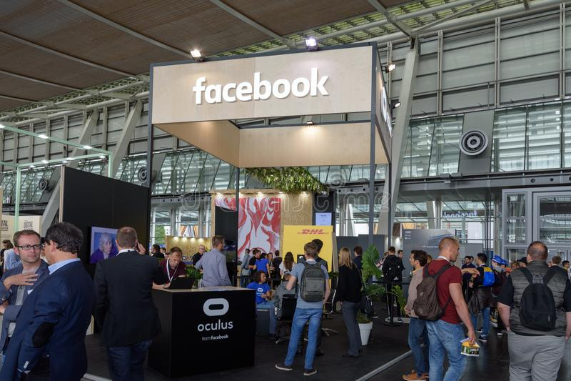 Hannover Niemcy, Czerwiec, - 13, 2018: Budka firma Facebook fotografia stock