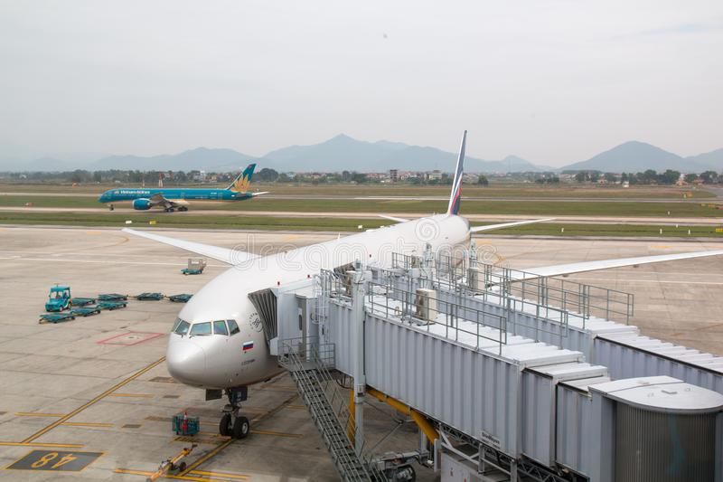 Hanoï, Vietnam - 20 janvier 2018 : Avions Boeing 777 des lignes aériennes russes d'Aeroflot à l'aéroport de Noi Bai Noi Bai Inter images stock